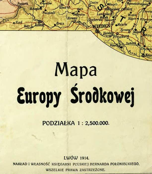 Mapa Europy Środkowej. Bez Polski. 1914.