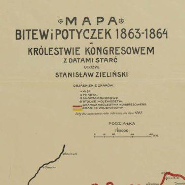 Powstanie styczniowe. Mapa bitew i potyczek w Królestwie Kongresowym. 1863-1864.