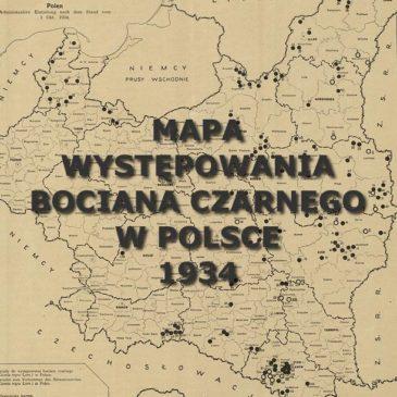 Mapa występowania bociana czarnego w Polsce. 1934.